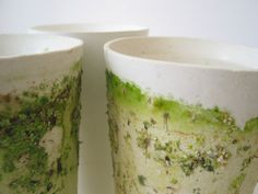 Mancha Natural (Martín Ruíz de Azúa, a series of porous white ceramic vessels which are colonized by mosses and other organic growths creating micro landscapes. Natural Form Art, Parts Of The Earth, Nature Decor, Ceramic Art, Planting Flowers, White Ceramics, Tableware, Experience Map, Ceramic Sculptures