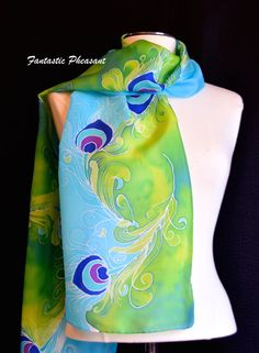 Silk scarf hand painted gorgeous white by FantasticPheasant