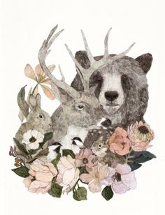Illustration by Daniela Dahf Henríquez Art And Illustration, Woodland Illustration, Illustrations, Woodland Creatures, Grafik Design, Art Plastique, Art Inspo, Amazing Art, Awesome
