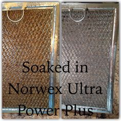 This is my vent that goes under my microwave above my stove. This was so easy!! I used Norwex UPP laundry detergent and boiling water. I soaked it till the water was cool and it rinsed right off! LOVE NORWEX!