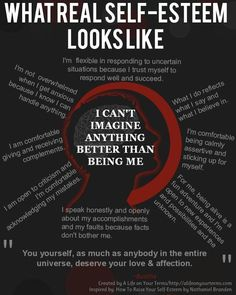 Self - Esteem Reality. This graphic shows eight different sayings to tell ourselves when our self - esteem is low. I chose this specific image because it truly has great phrases that can raise how you feel about yourself. What inspires me about it is that it gives me a variety of ways to respond while also leaving holes where I can make my own interpretations. The challenging thing though is I might not always truly believe these phrases. May not be all the way there all the time.