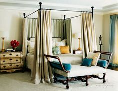 Serenity bedroom....love the little pops of color but it is still oh so calm