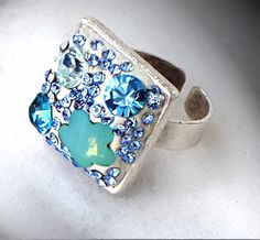 Crystal blue square white crystal clay ring with Swarovski crystal fancys stones by CrystallizedByLena on Etsy