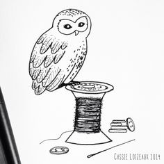 Tiny Owl. Day 46 of yearlong 30 minute a day sketchbook project. Cassie Loizeaux