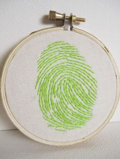 Personalized Finger Print Embroidery by JaneeLookerse Embroidery Applique, Cross Stitch Embroidery, Textile Patterns, Textiles, Fingerprint Art, Handprint Art, Dollar Store Crafts, Fingerprints, Yarn Projects