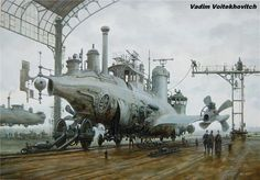 Huge airship flying to the good old days, retro illustration of a steam punk Future Steampunk Airship, Steampunk Costume, Steampunk Fashion, Steampunk Artwork, Diesel Punk, Design Steampunk, Steampunk Gadgets, Sea Crafts, Cyberpunk