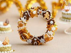Miniature Christmas Decoration -Made to order-  A beautiful decorative Christmas wreath covered with cookies, gingerbread, candies on golden