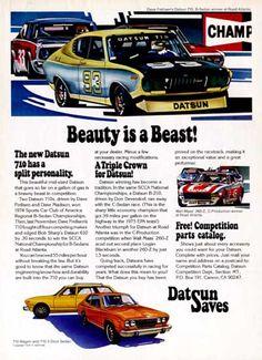 1975 Datsun Racing original vintage advertisement. Features gorgeous color illustration of Dave Frellsen's 710 B-Sedan winner and Walt Maas' 260 Z car winner.