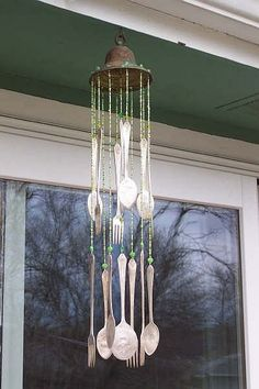I love this- windchime from old silverware