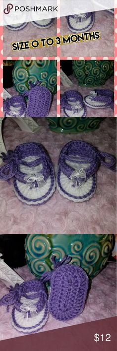 Handmade Crochet Baby Sandals Handmade Crochet Baby Sandals perfect for newborn baby gifts or pictures taken. 0 to 3 Months. Comes in beautiful box with layers of surprise items before revealing final message Shoes Baby & Walker