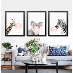 3 pieces non encadrées nordique minimaliste animaux zèbre girafe toile affiches estampes peinture murale pour les enfants salle de s