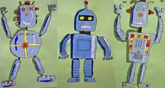 Aren't these amazing? I've done robot art lessons before but adding the hi-lights with paint is genius!