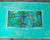 SOLD Hand Painted Canvas Floor Cloth Runner, Dragonfly on Turquoise