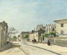 Rue Nôtre-Dame, Paris, Johan Barthold Jongkind, 1866 Het gebouw in het midden maakt gebruik van eigen schaduw.