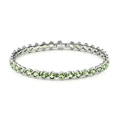 "14K Gold 7"" Round Cut Green Peridot Bracelet (12.09 Carat) http://www.beckers.com/Detail.aspx?ProdId=825"