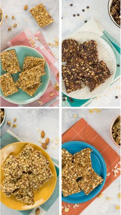 Four easy and quick no-bake granola bars for a healthy snack. Snacks desserts No-Bake Granola Bars 4 Ways: Tropical Fruit, Chocolate, Honey Almond, Peanut Butter Protein Healthy Bars, Healthy Sweets, Healthy Baking, Eating Healthy, No Bake Granola Bars, Snacks Saludables, Honey Almonds, Snack Recipes, Healthy Recipes