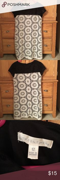 Black and Cream Lacy Dress Lace is in perfect condition! Only wore once! Cap sleeves are great for summer! London Times Dresses Midi