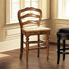 Avignon Counter Stool - Classic French Provincial Counter Stool;  exquisite little chairs; the carved details, honey tones, and rush seating -- they come as dining room chair as well - a perfect little chair! <3