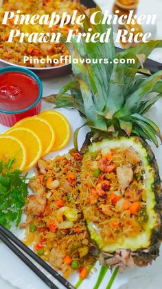Prawn Fried Rice, Fried Rice Dishes, Tasty Dishes, Pineapple Fried Rice, Pineapple Chicken, Prawns Fry, Chicken Chunks, Colorful Vegetables