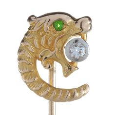 Stick pin stickpin Antique vintage Victorian diamond gold Gryphon / Griffin / Dragon   old European   Demantoid garnet   14 Kt   serpent by DavidJThomasJewelry on Etsy