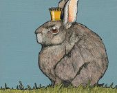 Regal Hare in a Tiny Crown- Small Print 4.5x4.5