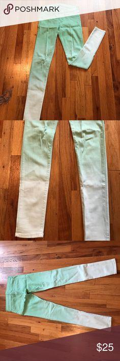 Flying Monkey Mint Ombré Skinny Jeans Ombré from Mint to White, stretch Jeans Skinny