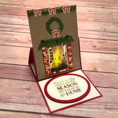 stampcandy.net, Stampin' Up!, easel card with tea light, Cozy Christmas stamp set, Festive Fireplace stamp set, Festive Fireside Framelits Dies, Ovals Collection Framelits Dies, Stampin' Write Markers, Envelope Punch Board, Neutrals Envelope Paper