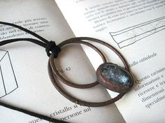 Larvikite stone necklace  antiqued copper electroformed