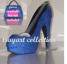 Gem embellished Blue Sparkle High Heel Shoe TAPE DISPENSER Stiletto Platform - office supplies - trayart collection. $25.00, via Etsy.