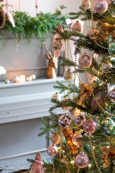 """The back parlor is ready for Christmas. Candlelight is aglow on the antique """"Jenkins"""" piano. A gorgeous faux cedar garla. French Christmas Tree, French Country Christmas, Cottage Christmas, Christmas Rose, Shabby Chic Christmas, Christmas Scenes, Victorian Christmas, Country French, Xmas"""