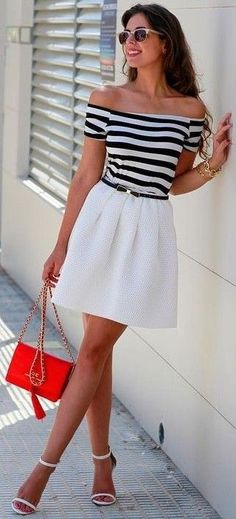 #summer #stripes #style  |  Stripes + Pop Of Red