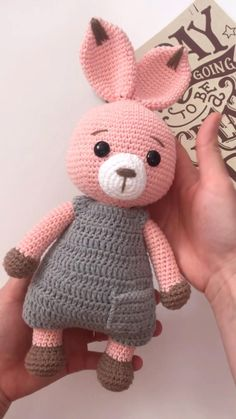 Crochet bunny pattern - My crochet pattern - Amigurumi Crochet Bunny Pattern, Crochet Amigurumi Free Patterns, Crochet Dolls, Knitted Toys Patterns, Crochet Pig, Crochet Easter, Cute Crochet, Crochet Elephant, Crochet Basics