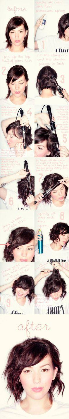 Messy curls for short hair tutorial