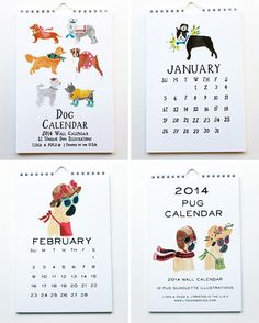 2014 Illustrated Dog Calendars by Lydia & Pugs - Dog Milk