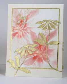 handmade Christmas card: Pink & Gold Poinsettia by Heather Telford .. watercolor impressions on main panel ... die cut gold wrapping paper mat and die cut flowers ... flowers put on adhesive sheet before cutting ... delightfully beautiful card!!