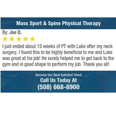 I just ended about 15 weeks of PT with Luke after my neck surgery, I found this to be...