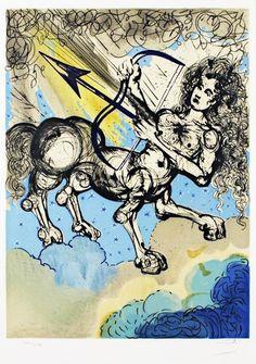 """""""Litografias de Salvador Dalí que ilustram os 12 signos do zodíaco. Elas foram criadas em 1967, como uma série limitada de 250 cópias de cada. Acima, o signo de Sagitário."""""""
