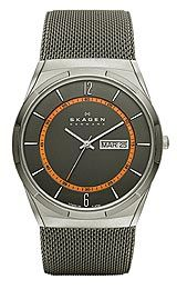 Skagen Aktiv Grey Mesh Titanium Mens watch SKW6007, Polished silver tone palms  Smaller black Arabic amounts and indices variety inner minute track,