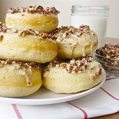 Browned butter, vanilla, and bourbon baked donuts topped with a maple glaze and toasted pecans.