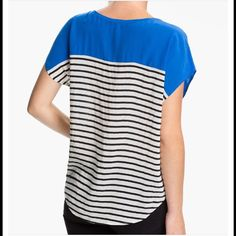 """Joie Agacia Colorblock Silk Top Joie Agacia Colorblock Silk Top.  A vibrant yoke suspends a relaxed body scored by stripes for a breezy, nautical feel. Approx. length from shoulder: 25"""". 100% Silk; dry clean. Joie Tops Blouses"""