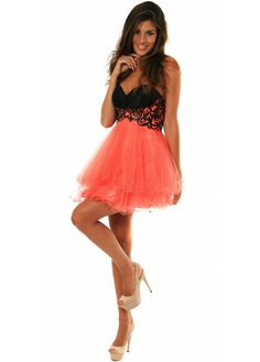 Coral Outfits | ... Dresses › Forever Unique › Dress Coral Butterfly Bodice Prom Dress