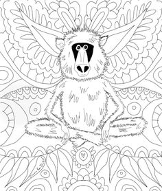 21 days of sheer colour therapy delight and it's all free! Free Coloring, Adult Coloring, Fun Art, Cool Art, Colour Therapy, Baboon, Art Challenge, Weird And Wonderful, Therapy Ideas