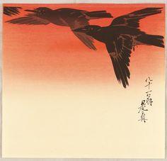 Crows in Flight at Sunrise Zeshin Shibata 1807-1891