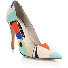 Alice + Olivia Dina Top-Stitched Printed Pumps ($120) ❤ liked on Polyvore featuring shoes, pumps, heels, sapatos, zapatos, apparel & accessories, multicolor, multi color shoes, colorful shoes and colorful pumps