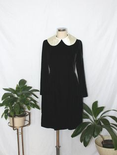 1960s Black Velvet Peter Pan Collar Dress | Vintage 60s Girl Group Dress | Small S by firstladiesvintage