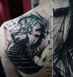 Men's Back Clock Tattoos