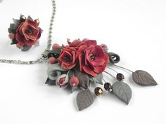 Terracotta Pendant and ring set Polymer clay jewelry Handmade jewelry Floral pendant Floral ring