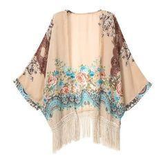 Vintage Floral Fringe Kimono (1.310 RUB) ❤ liked on Polyvore