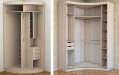 Угловой-шкаф-радиусные-двери Corner Closet, Corner Wardrobe, Cupboard Wardrobe, Bedroom Wardrobe, Closet Bedroom, Door Dividers, Closet Storage, Home Photo, Interior Exterior