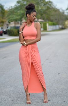 Chic Couture Online - Valerie Peach Draped Two Piece Set, $60.00 (http://www.chiccoutureonline.com/valerie-peach-draped-two-piece-set/?page_context=category